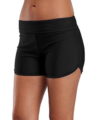 ALove Women Stretch Board Short Quick Dry Swimming Shorts Swim Bottom Black 12 ()