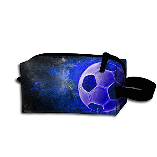 Makeup Cosmetic Bag Soccer With Blue Fire Zip Travel Portable Storage Pouch For Mens Womens