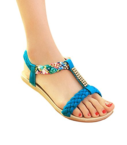 YOUJIA Damen T-spangen Sandalen Strass Peep-Toe Flache Zehentrenner Sandalen Strand Schuhe Blau