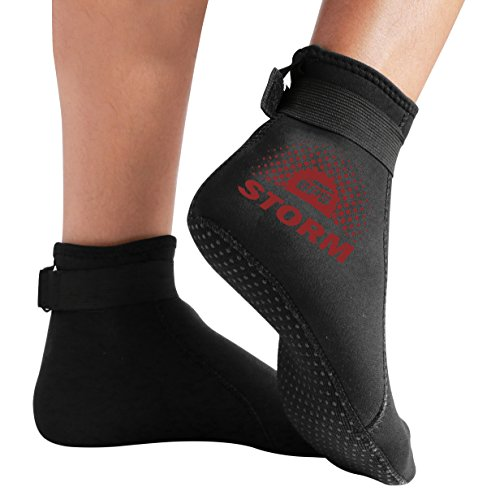 BPS 'Storm Smart Sock' Neoprene 3mm Water Socks - with Anti-Slip Sole - Wetsuit Booties for Wading, Tide Pooling, Fishing, Water Aerobics, Rafting - Low Cut (Black/Red Brown Accent, Large)