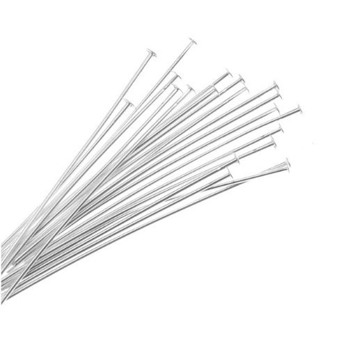 (Silver Plated Head Pins - Hgho 50pcs Mixed Silver Plated Head Pins Findings 1.5inch 22 Gauge - Violin Cleaner Dinnerware Bucket Cubic Necklace Girls Cable Playing Mens Glasses Hoop Magneti)