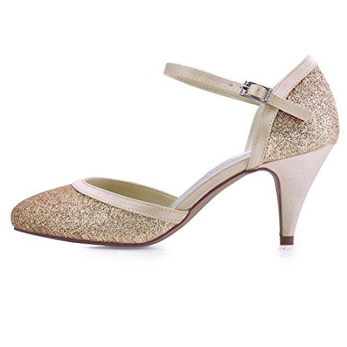 Minitoo Ladies Simple Amond Toe Med Heel Glitter Outdoor Wedding Party Shoes Champagne-5cm Heel kjkadNmGMV