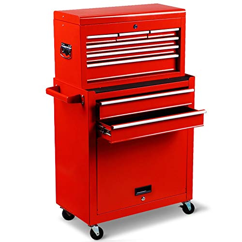 Rolling Tool Chest Removable Storage Cabinet with Wheels and Sliding Drawer,Detachable Lockable Tool Box Organizer for Garage and Warehouse,Red