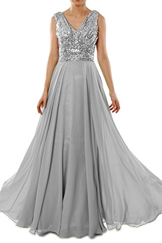 MACloth Women V Neck Sequin Chiffon Long Bridesmaid Dress Formal Evening Gown (24w, Silver)
