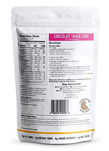 Good Dee's Chocolate Snack Cake Mix – Low carb, Keto friendly, Sugar free, Gluten free, Grain Free, No Nuts, Sweetened Naturally, Atkins friendly, Diabetic friendly, WW Friendly, 1g net carbs, 12 ser.