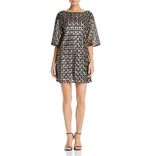 (Laundry by Shelli Segal Women's Sequin Mesh Diamond Grid Shift Cocktail Dress, Gold, 4 SP)