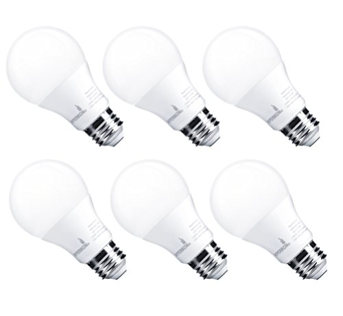 HyperSelect 9W LED Light Bulb A19 - E26 Non-Dimmable LED Bulb [60W Equivalent], 4000K (Daylight Glow), 800 Lumens, Medium Screw Base, UL-Listed (Pack of 6)