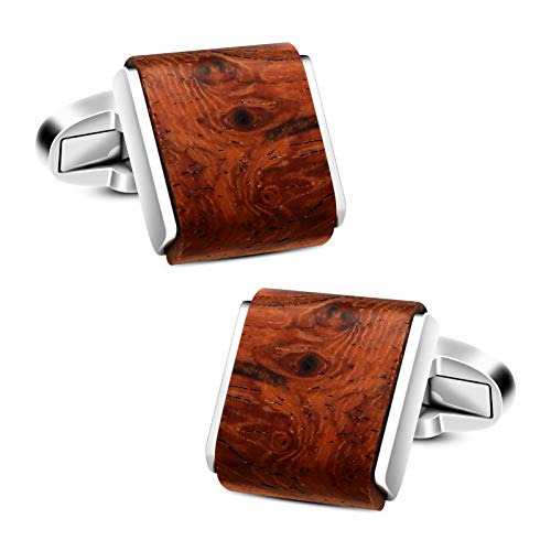 VIILOCK Men's Natural Handmade Rosewood Cufflink Handcrafted Wooden Square Cuff Links with Gift Bag (Bruma Rosewood)