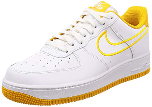 Image of Nike Men's Air Force 1 '07 Leather Shoe White/Yellow Ochre, 12