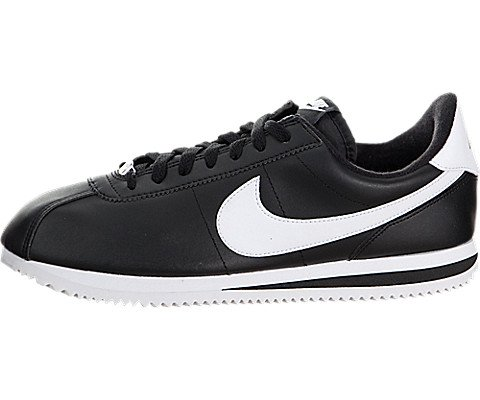 Nike Men's Cortez Basic Leather Black/White/Metallic Silver Casual Shoe 9 (Classic Nike Sneakers compare prices)
