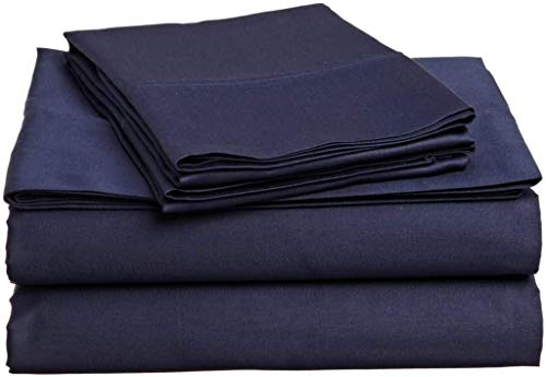 "Eless Bedding Bed Sheets Set RV-Bunk/Camper 30""X75"" Size Navy Blue Solid Long-Staple 100% Cotton for Bed, Fits Mattress Upto 6"" Deep Pocket, Soft & Silky Sateen Weave 400 TC Sheets and Pillowcases"
