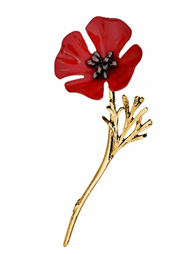 Flower Brooch Pin Cnlinkco Women Vintage Style Red Poppy Flower Lapel Pin Bridal Brooch 1PC (Gold)