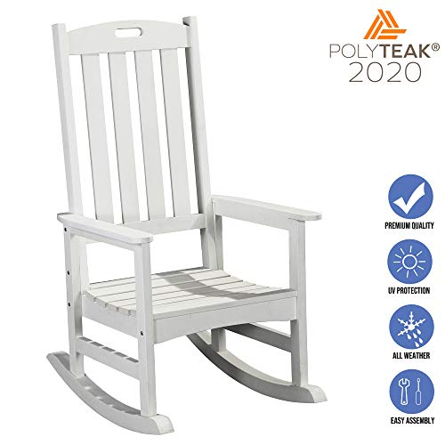 PolyTEAK Classic Outdoor Rocking Chair, White | Adult-Size, Weather Resistant, Porch and Patio Rocker | Made from Special Formulated Poly Lumber Plastic | Created and Designed in California