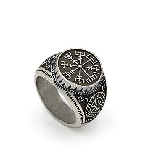 TTKP Nordic Pagan Triskele Helm Aegishjalmur Futhark Viking Stave Runic Amulet Ring
