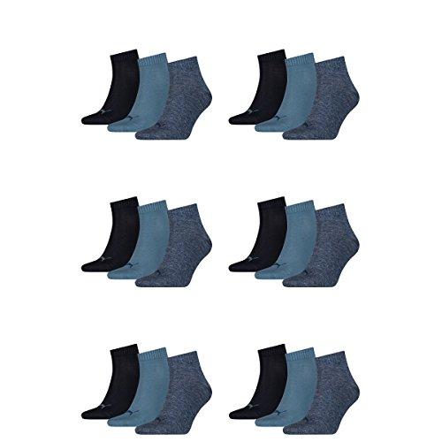18 pair Puma Sneaker Quarter Socks Unisex Mens & Ladies 460 denim blue