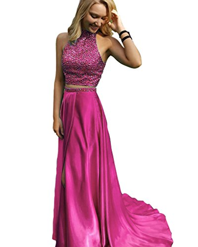 [Royal Blue Prom Dresses Two Pieces New Style Slit Prom Gowns Pink-Custom Made] (Jkara Woman Beaded Chiffon Gown)