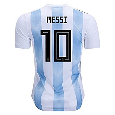 Messi #10 Jersey Argentina National Team Home 2018 Soccer Jersey Mens White/Blue