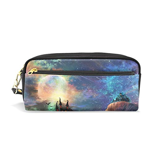 Unicey Starry Halloween Night Pouch Case Women Makeup PU Leather Cosmetic Bags Kids School Portable Stationary Pencil Bag