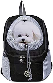 Pet Carrier Backpack for Small Dog cat up to 15~17lbs, Hands-Free Pet Travel Bag, Breathable Head-Out Design a
