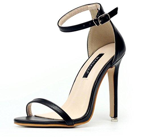 CSDM DONNA Sandali classici semplici Stiletto Heel Summer Open Toe Cavità Cavità scarpe da fibbia , black , 40