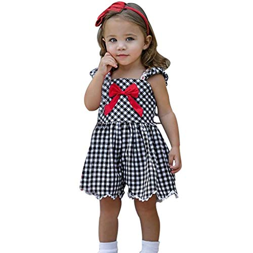(MSOO Toddler Baby Kid Girls Strap Plaid Print Bow Overall Jumpsuit Summer Outfits (12-18 Months))