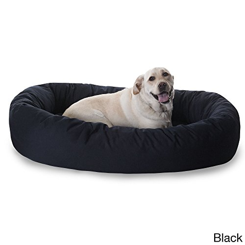 52 Bed Bagel (Extra Large 1 Piece Black Color 52 Inches Bagel Style Donut Plush Pet Bed Dog Puppy Doggy Animal Four Legged Superbly Beautiful Water Proof Soft Cozy Luxurious Comfortable Easy Feel Relax)