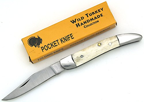 Wild Turkey Handmade Bone Handle Folding Tooth-Pick Knife 3.5′ Closed Everyday Carry Collectors Item Survival
