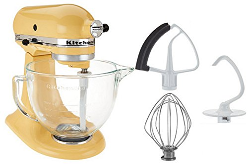 Read About KitchenAid 5-Qt. Tilt-Head Stand Mixer with Glass Bowl and Flex Edge Beater - Majestic Ye...