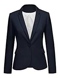 LookbookStore Women's Navy Notched Lapel Pocket Button Work Office Blazer Jacket Suit Size XL