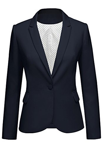 Lookbook Store Women's Navy Notched Lapel Pocket Button Work Office Blazer Jacket Suit Size (Navy Blazer)