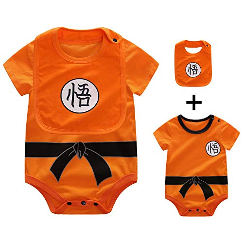 Beal Shopping Baby Infant Baby Girls Boy Bodysuit Romper Goku Modeling Short Sleeve Triangle Cotton Jumpsuit+Bibs