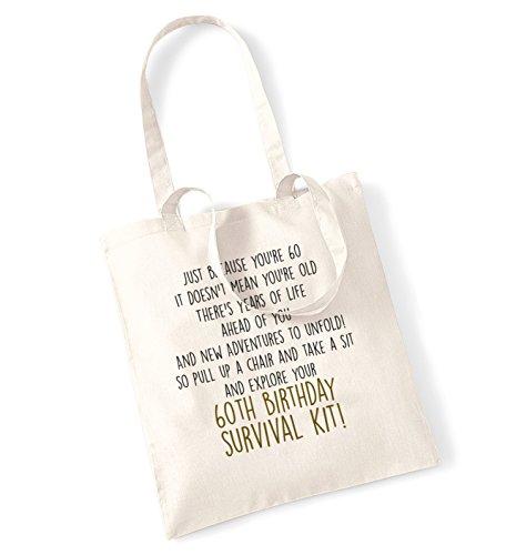 60th birthday survival kit tote bag Natural