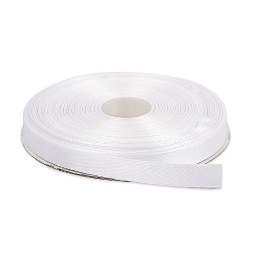 Topenca Supplies 1/2 Inches x 50 Yards Double Face Solid Satin Ribbon Roll, White