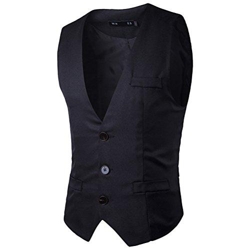 Dress Waistcoat Zhuhaitf Vest Buttons Button Down negro Men's Suit Diseño superior 3 Breasted Single zx7pz1qr
