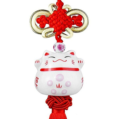 (DOYIFun Feng Shui Lucky Cat Ceramic Pendant Japanese Maneki Neko Charm Hanging for Wealth Fortune Car Interior Home Decoration Accessories)