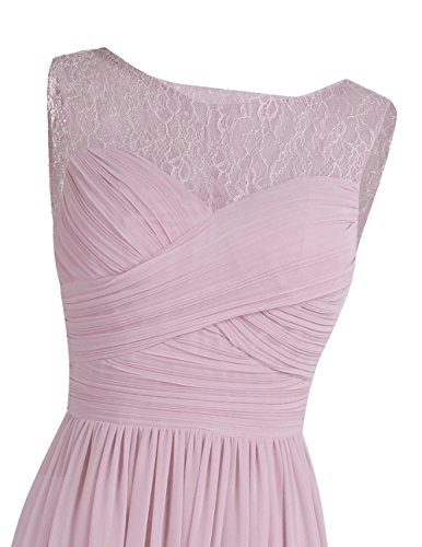 Evening Chiffon Lace Women's Bridesmaid Patchwork Formal Gowns Long Dress FEESHOW Prom Dusty Rose CqSzt6C