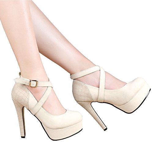 getmorebeauty Women's Beige Fashion Thin High Heeled Round Toe Snake Print Dress Shoes 7.5 B(M) US