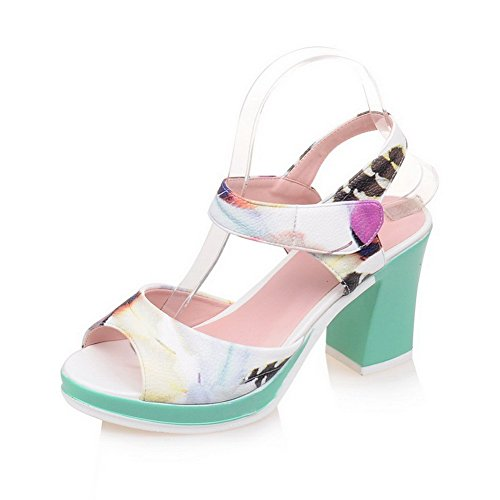 VogueZone009 Women's Open Toe Hook-and-Loop PU Assorted Color High-Heels Sandals White aaVk4Uc