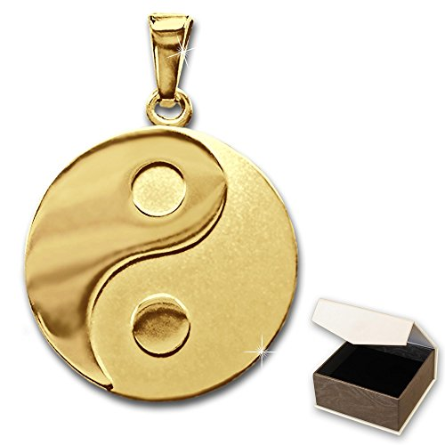 CLEVER SCHMUCK Pendentif yin yang en véritable or 333Mat/brillant Ø 16mm