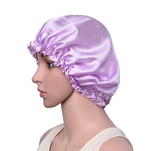 Pretty See Natural Silk Night Cap Sleep Caps Elastic Beanie Hat for Hair Protection, Large Size
