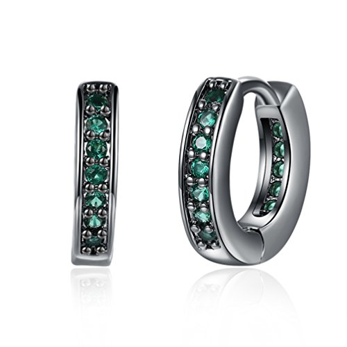 Earrings Green Huggie (FENDINA Jewelry 18k Black Gold Plated Created Green Emerald Huggie Earrings Hypoallergenic Round Pierced Hoop Earrings for Women Girl)