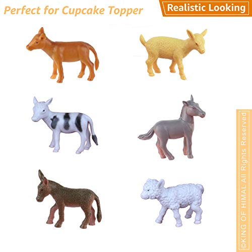 (6 PCs) Baby Horse Calf Cow Goat Sheep Lamb Donkey Figurines for Cupcake Topper Decoration Reward Gift for Boy Girl Party Favors Party Supply Cake Decoration for Animal Theme Party ()
