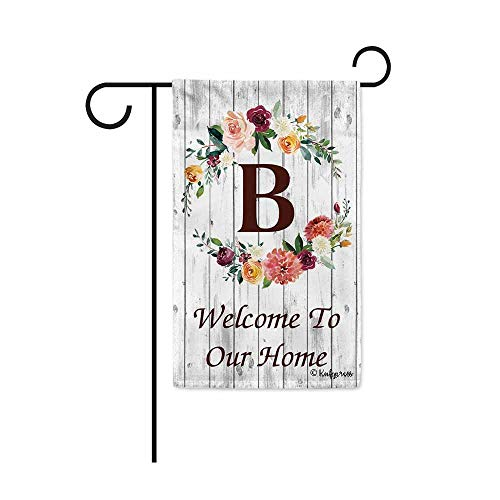 KafePross Hello Spring Flowers Summer Initial Letter Monogram B Garden Flag Welcome to Our Home Warminghouse Decor Banner for Outside 12.5X18 Inch Double Sided