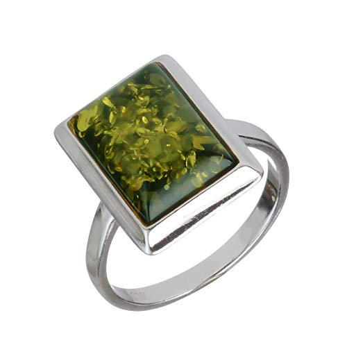 HolidayGiftShops Sterling Silver and Baltic Green Rectangle Amber Ring Size: 8
