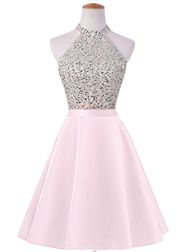 Keyhole Dresses Back Beaded HEIMO Gowns Homecoming H198 Pink Sequined Prom Women's Short 1qwwEZ