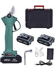 Professionele elektrische snoeischaar, 48 V-2,0 Ah accu, snoeischaar, snijdiameter 30 mm, voor tuinbomen en fruitbomen, 2 oplaadbare batterijen en 2 messen