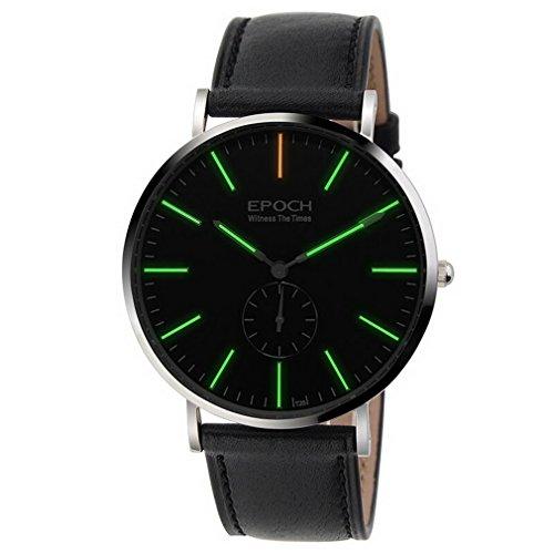 EPOCH 6025G Waterproof 50m tritium Green Luminous Ultrathin case Leather Strap Business Men Quartz Watch Wristwatch (Epoch Watch)