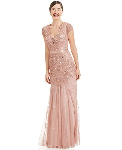 Adrianna Papell Blush Long Beaded Dress With Cap Sleeves (6)