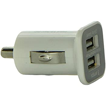 iFlash Dual USB Car Lighter Charger Adapter with 3A Output - fast Heavy Duty Ouput (White)