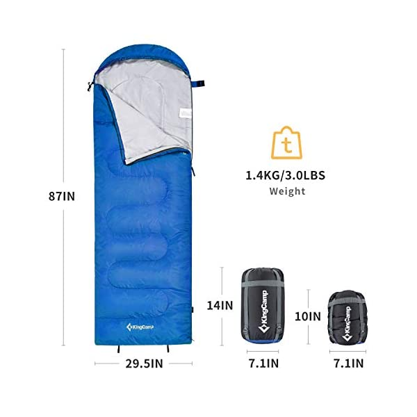 KingCamp Envelope Sleeping Bag 3 Season Spliced Adult Portable Lightweight Comfort with Compression Sack for Adults Kids Camping Backpack Temp Rating 44F 3